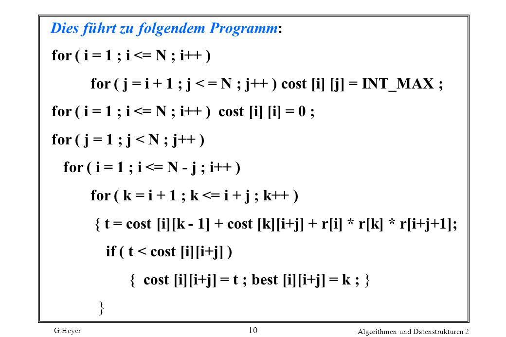 G.Heyer Algorithmen und Datenstrukturen 2 10 Dies führt zu folgendem Programm: for ( i = 1 ; i <= N ; i++ ) for ( j = i + 1 ; j < = N ; j++ ) cost [i] [j] = INT_MAX ; for ( i = 1 ; i <= N ; i++ ) cost [i] [i] = 0 ; for ( j = 1 ; j < N ; j++ ) for ( i = 1 ; i <= N - j ; i++ ) for ( k = i + 1 ; k <= i + j ; k++ ) { t = cost [i][k - 1] + cost [k][i+j] + r[i] * r[k] * r[i+j+1]; if ( t < cost [i][i+j] ) { cost [i][i+j] = t ; best [i][i+j] = k ; } }