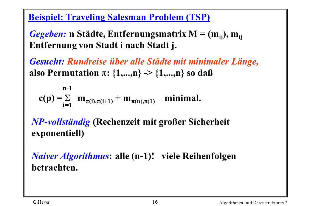 G.Heyer Algorithmen und Datenstrukturen 2 16 Beispiel: Traveling Salesman Problem (TSP) Gegeben: n Städte, Entfernungsmatrix M = (m ij ), m ij Entfernung von Stadt i nach Stadt j.