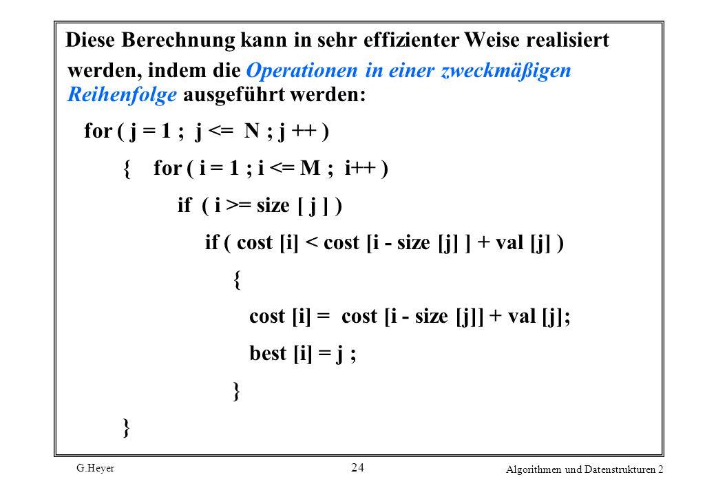 G.Heyer Algorithmen und Datenstrukturen 2 24 Diese Berechnung kann in sehr effizienter Weise realisiert werden, indem die Operationen in einer zweckmäßigen Reihenfolge ausgeführt werden: for ( j = 1 ; j <= N ; j ++ ) { for ( i = 1 ; i <= M ; i++ ) if ( i >= size [ j ] ) if ( cost [i] < cost [i - size [j] ] + val [j] ) { cost [i] = cost [i - size [j]] + val [j]; best [i] = j ; }