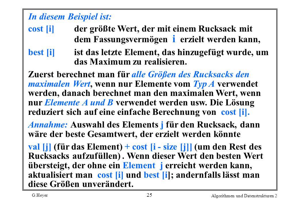 G.Heyer Algorithmen und Datenstrukturen 2 25 In diesem Beispiel ist: cost [i]der größte Wert, der mit einem Rucksack mit dem Fassungsvermögen i erzielt werden kann, best [i]ist das letzte Element, das hinzugefügt wurde, um das Maximum zu realisieren.