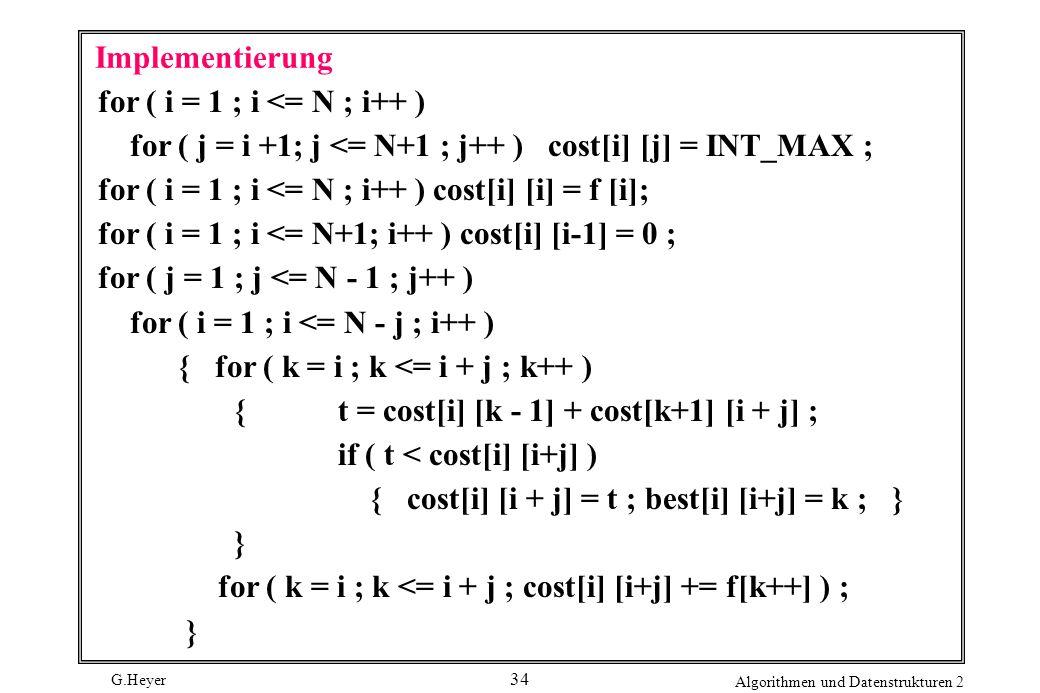 G.Heyer Algorithmen und Datenstrukturen 2 34 Implementierung for ( i = 1 ; i <= N ; i++ ) for ( j = i +1; j <= N+1 ; j++ ) cost[i] [j] = INT_MAX ; for ( i = 1 ; i <= N ; i++ ) cost[i] [i] = f [i]; for ( i = 1 ; i <= N+1; i++ ) cost[i] [i-1] = 0 ; for ( j = 1 ; j <= N - 1 ; j++ ) for ( i = 1 ; i <= N - j ; i++ ) { for ( k = i ; k <= i + j ; k++ ) { t = cost[i] [k - 1] + cost[k+1] [i + j] ; if ( t < cost[i] [i+j] ) { cost[i] [i + j] = t ; best[i] [i+j] = k ; } } for ( k = i ; k <= i + j ; cost[i] [i+j] += f[k++] ) ; }
