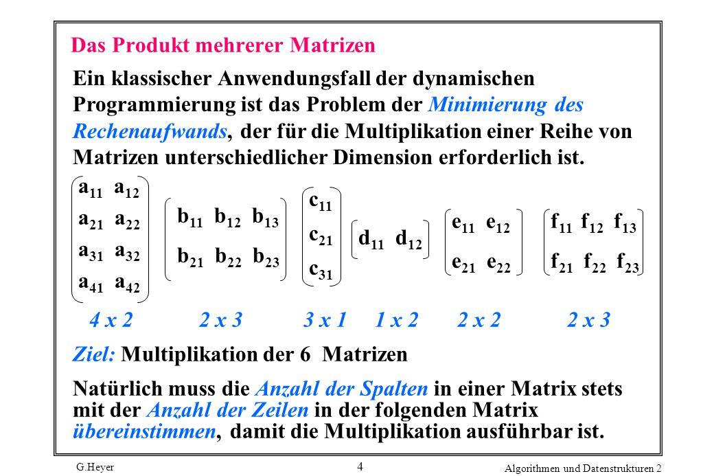 G.Heyer Algorithmen und Datenstrukturen 2 4 Das Produkt mehrerer Matrizen Ein klassischer Anwendungsfall der dynamischen Programmierung ist das Problem der Minimierung des Rechenaufwands, der für die Multiplikation einer Reihe von Matrizen unterschiedlicher Dimension erforderlich ist.