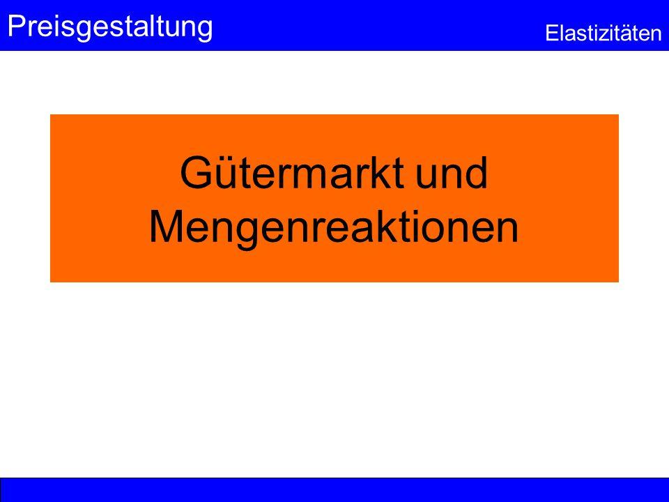 Preisgestaltung Elastizitäten © Anselm Dohle-Beltinger 2003 22 Zur Wiederholung: Gütereinteilung nach der Beziehung zwischen Gütern Gelänge bei den substitutiven Gütern keine Produktdifferenzierung durch Werbung (fehlende Markttransparenz), so würde alleine der Preis entscheiden.
