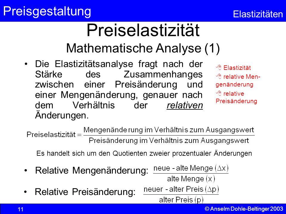 Preisgestaltung Elastizitäten © Anselm Dohle-Beltinger 2003 11 Preiselastizität Mathematische Analyse (1) Die Elastizitätsanalyse fragt nach der Stärk