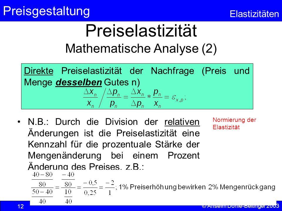 Preisgestaltung Elastizitäten © Anselm Dohle-Beltinger 2003 12 Preiselastizität Mathematische Analyse (2) N.B.: Durch die Division der relativen Änder
