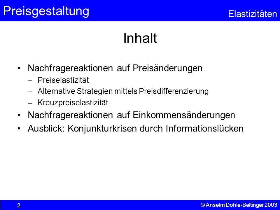 Preisgestaltung Elastizitäten © Anselm Dohle-Beltinger 2003 13 Preiselastizität im Detail Gegeben sei die folgende Nachfragefunktion: x=20-2p; (  p=10-0,5x) |  |>1 |  |<1 |  |=1 ||=0||=0 Die Elastizität ist i.d.R.