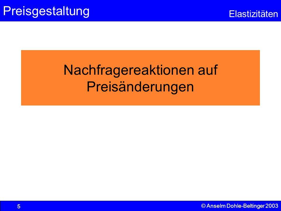 Preisgestaltung Elastizitäten © Anselm Dohle-Beltinger 2003 6 Haushalte als betrachtete Einheit In der Folge wird die Reaktion der Nachfragemenge auf dem Gütermarkt untersucht.