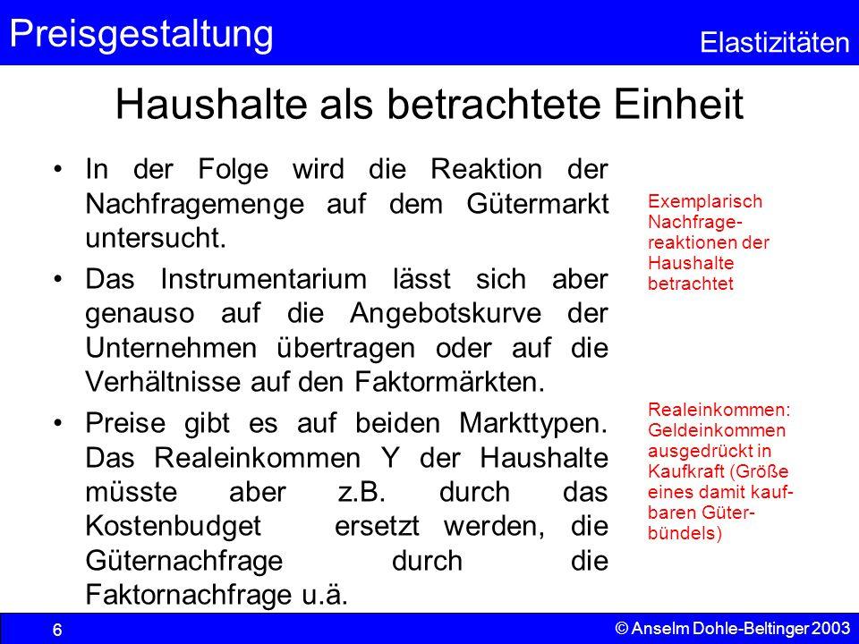 Preisgestaltung Elastizitäten © Anselm Dohle-Beltinger 2003 7 Die Stärke der Preisreaktion der Güternachfrage Für die Stärke der Reaktion einer abhängigen Variablen – hier der Nachfrage – auf die Änderung einer unabhängigen Variablen verwenden wir den Begriff Elastizität.