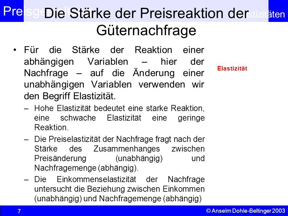 Preisgestaltung Elastizitäten © Anselm Dohle-Beltinger 2003 7 Die Stärke der Preisreaktion der Güternachfrage Für die Stärke der Reaktion einer abhäng
