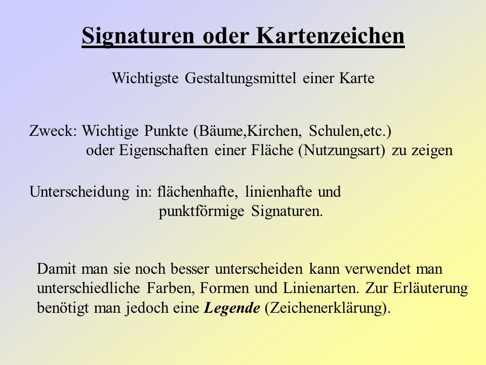 Signaturen oder Kartenzeichen Wichtigste Gestaltungsmittel einer Karte Zweck: Wichtige Punkte (Bäume,Kirchen, Schulen,etc.) oder Eigenschaften einer F
