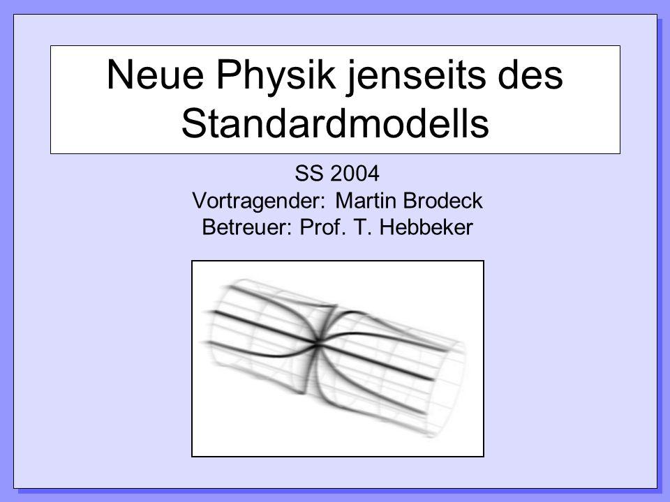 Neue Physik jenseits des Standardmodells SS 2004 Vortragender: Martin Brodeck Betreuer: Prof. T. Hebbeker