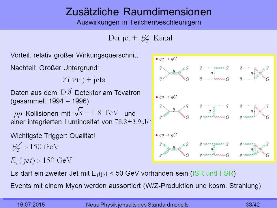 33/42 16.07.2015 Neue Physik jenseits des Standardmodells Zusätzliche Raumdimensionen Auswirkungen in Teilchenbeschleunigern Vorteil: relativ großer Wirkungsquerschnitt Nachteil: Großer Untergrund: Daten aus dem Detektor am Tevatron (gesammelt 1994 – 1996) Kollisionen mit und einer integrierten Luminosität von Wichtigste Trigger: Qualität.