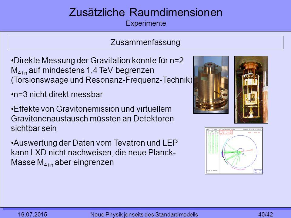 40/42 16.07.2015 Neue Physik jenseits des Standardmodells Zusätzliche Raumdimensionen Experimente Zusammenfassung Direkte Messung der Gravitation konnte für n=2 M 4+n auf mindestens 1,4 TeV begrenzen (Torsionswaage und Resonanz-Frequenz-Technik) n=3 nicht direkt messbar Effekte von Gravitonemission und virtuellem Gravitonenaustausch müssten an Detektoren sichtbar sein Auswertung der Daten vom Tevatron und LEP kann LXD nicht nachweisen, die neue Planck- Masse M 4+n aber eingrenzen
