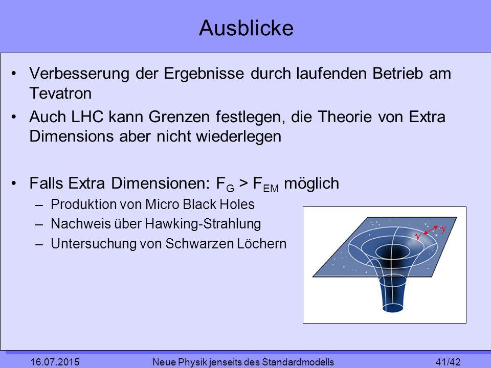 41/42 16.07.2015 Neue Physik jenseits des Standardmodells Ausblicke Verbesserung der Ergebnisse durch laufenden Betrieb am Tevatron Auch LHC kann Grenzen festlegen, die Theorie von Extra Dimensions aber nicht wiederlegen Falls Extra Dimensionen: F G > F EM möglich –Produktion von Micro Black Holes –Nachweis über Hawking-Strahlung –Untersuchung von Schwarzen Löchern  