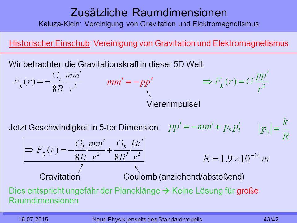 43/42 16.07.2015 Neue Physik jenseits des Standardmodells Zusätzliche Raumdimensionen Kaluza-Klein: Vereinigung von Gravitation und Elektromagnetismus Wir betrachten die Gravitationskraft in dieser 5D Welt: Viererimpulse.