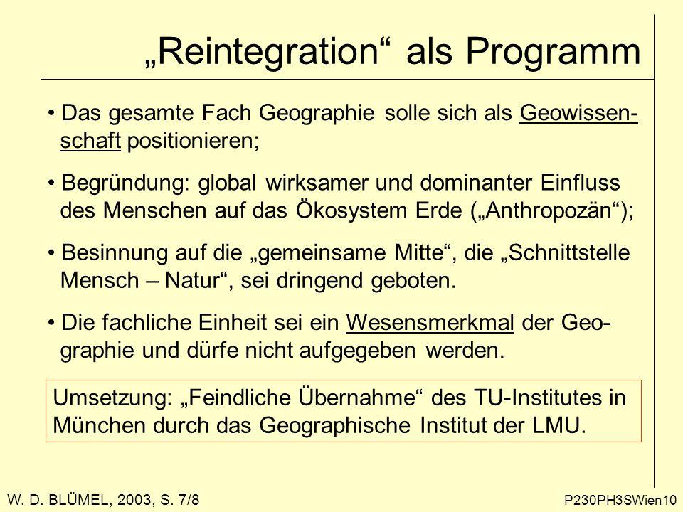"""P230PH3SWien10 """"Reintegration als Programm Das gesamte Fach Geographie solle sich als Geowissen- schaft positionieren; Begründung: global wirksamer und dominanter Einfluss des Menschen auf das Ökosystem Erde (""""Anthropozän ); Besinnung auf die """"gemeinsame Mitte , die """"Schnittstelle Mensch – Natur , sei dringend geboten."""