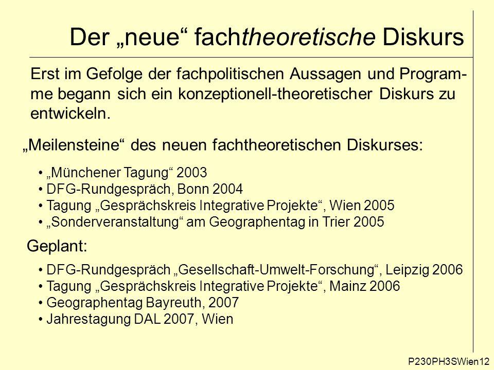 """Der """"neue fachtheoretische Diskurs P230PH3SWien12 Erst im Gefolge der fachpolitischen Aussagen und Program- me begann sich ein konzeptionell-theoretischer Diskurs zu entwickeln."""