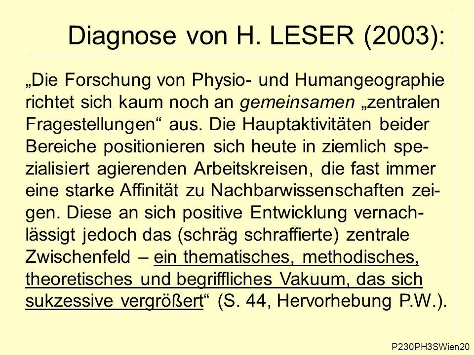 """Diagnose von H. LESER (2003): P230PH3SWien20 """"Die Forschung von Physio- und Humangeographie richtet sich kaum noch an gemeinsamen """"zentralen Fragestel"""