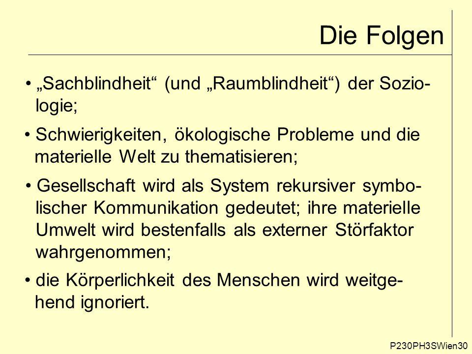 """P230PH3SWien30 Die Folgen """"Sachblindheit"""" (und """"Raumblindheit"""") der Sozio- logie; Schwierigkeiten, ökologische Probleme und die materielle Welt zu the"""