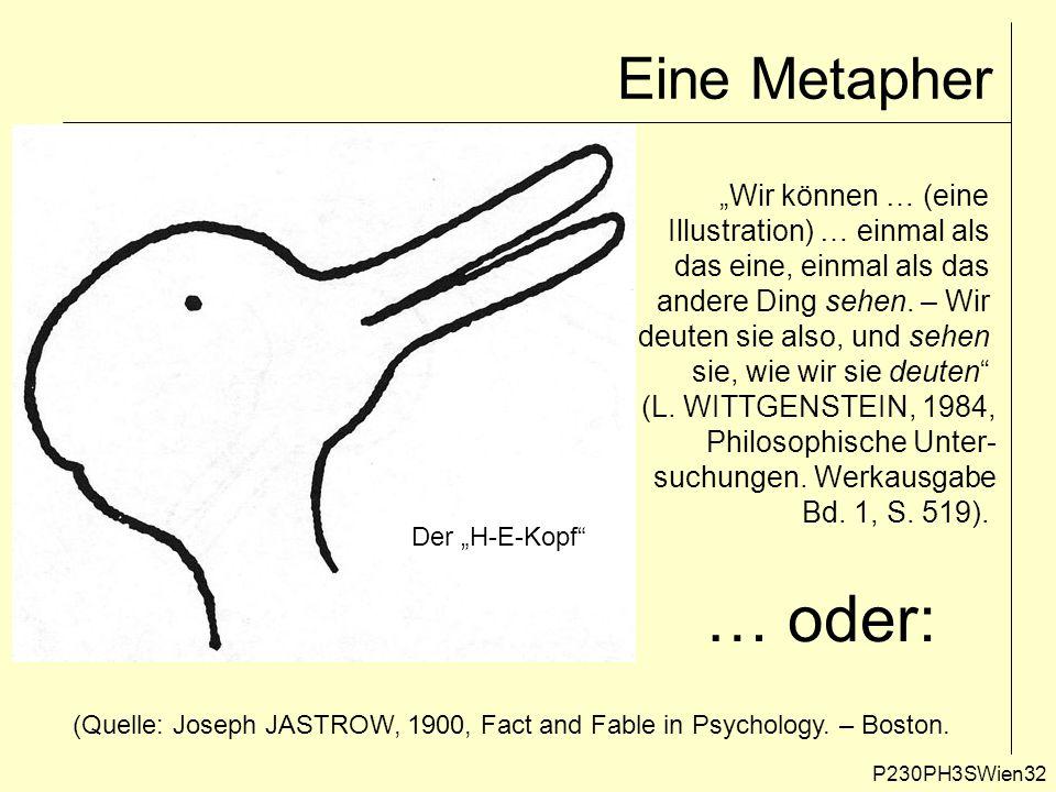 """Eine Metapher P230PH3SWien32 """"Wir können … (eine Illustration) … einmal als das eine, einmal als das andere Ding sehen. – Wir deuten sie also, und seh"""