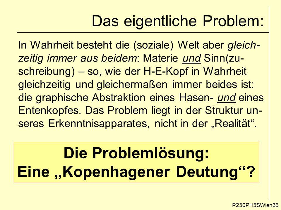 P230PH3SWien35 Das eigentliche Problem: In Wahrheit besteht die (soziale) Welt aber gleich- zeitig immer aus beidem: Materie und Sinn(zu- schreibung) – so, wie der H-E-Kopf in Wahrheit gleichzeitig und gleichermaßen immer beides ist: die graphische Abstraktion eines Hasen- und eines Entenkopfes.