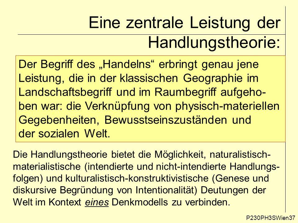 """P230PH3SWien37 Eine zentrale Leistung der Handlungstheorie: Der Begriff des """"Handelns"""" erbringt genau jene Leistung, die in der klassischen Geographie"""