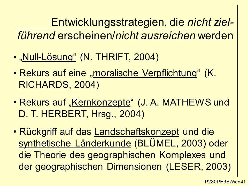 """Entwicklungsstrategien, die nicht ziel- führend erscheinen/nicht ausreichen werden P230PH3SWien41 """"Null-Lösung"""" (N. THRIFT, 2004) Rekurs auf eine """"mor"""