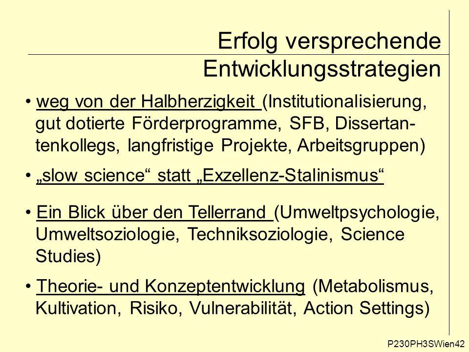 """Erfolg versprechende Entwicklungsstrategien P230PH3SWien42 weg von der Halbherzigkeit (Institutionalisierung, gut dotierte Förderprogramme, SFB, Dissertan- tenkollegs, langfristige Projekte, Arbeitsgruppen) """"slow science statt """"Exzellenz-Stalinismus Ein Blick über den Tellerrand (Umweltpsychologie, Umweltsoziologie, Techniksoziologie, Science Studies) Theorie- und Konzeptentwicklung (Metabolismus, Kultivation, Risiko, Vulnerabilität, Action Settings)"""