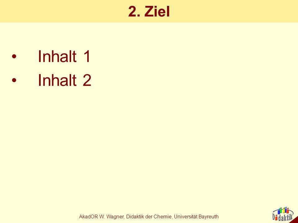 AkadOR W. Wagner, Didaktik der Chemie, Universität Bayreuth 2. Ziel Inhalt 1 Inhalt 2