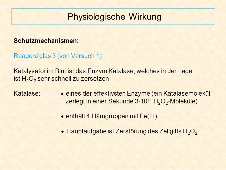 Physiologische Wirkung Schutzmechanismen: Reagenzglas 3 (von Versuch 1): Katalysator im Blut ist das Enzym Katalase, welches in der Lage ist H 2 O 2 s