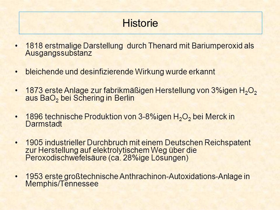 Historie 1818 erstmalige Darstellung durch Thenard mit Bariumperoxid als Ausgangssubstanz bleichende und desinfizierende Wirkung wurde erkannt 1873 er