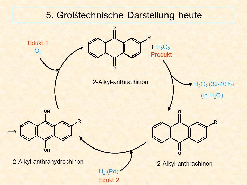 5. Großtechnische Darstellung heute 2-Alkyl-anthrachinon H 2 (Pd) O2O2 2-Alkyl-anthrachinon → + H 2 O 2 Produkt Edukt 1 2-Alkyl-anthrahydrochinon H 2
