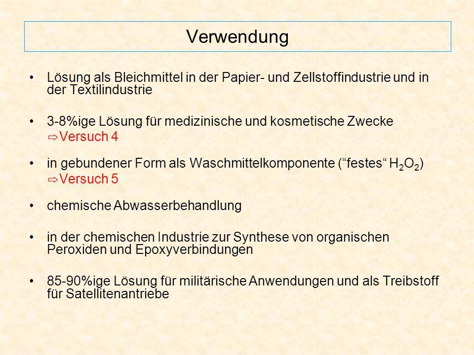 Verwendung Lösung als Bleichmittel in der Papier- und Zellstoffindustrie und in der Textilindustrie 3-8%ige Lösung für medizinische und kosmetische Zw