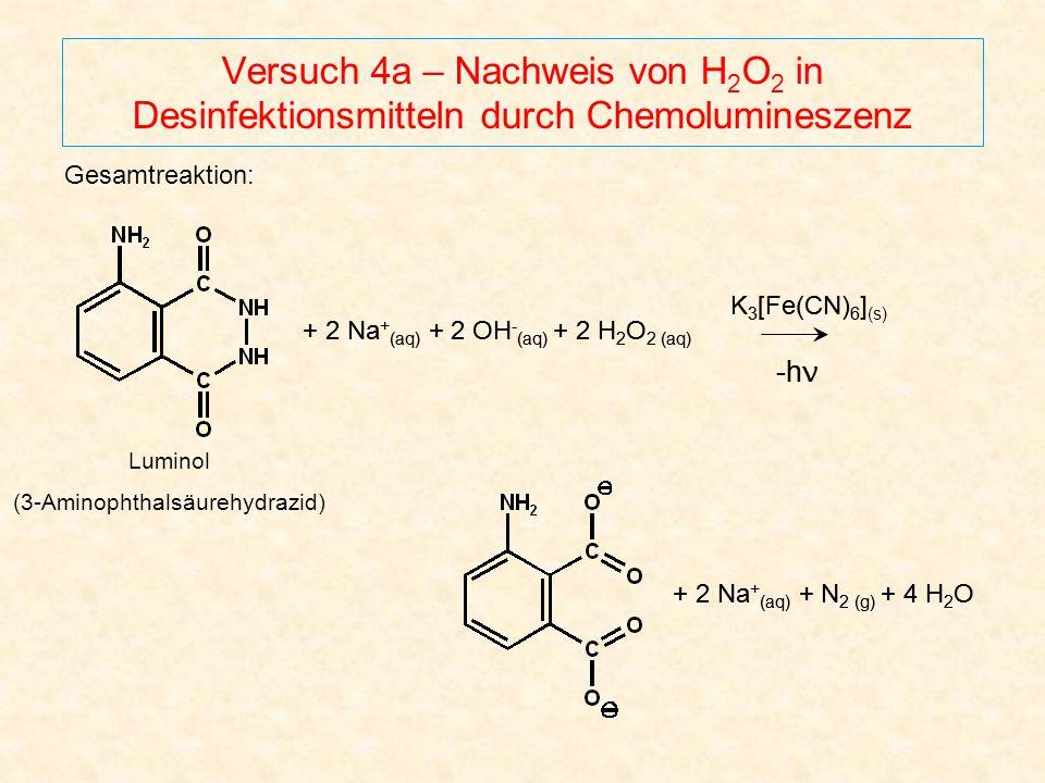 Versuch 4a – Nachweis von H 2 O 2 in Desinfektionsmitteln durch Chemolumineszenz Luminol (3-Aminophthalsäurehydrazid) Gesamtreaktion: K 3 [Fe(CN) 6 ]