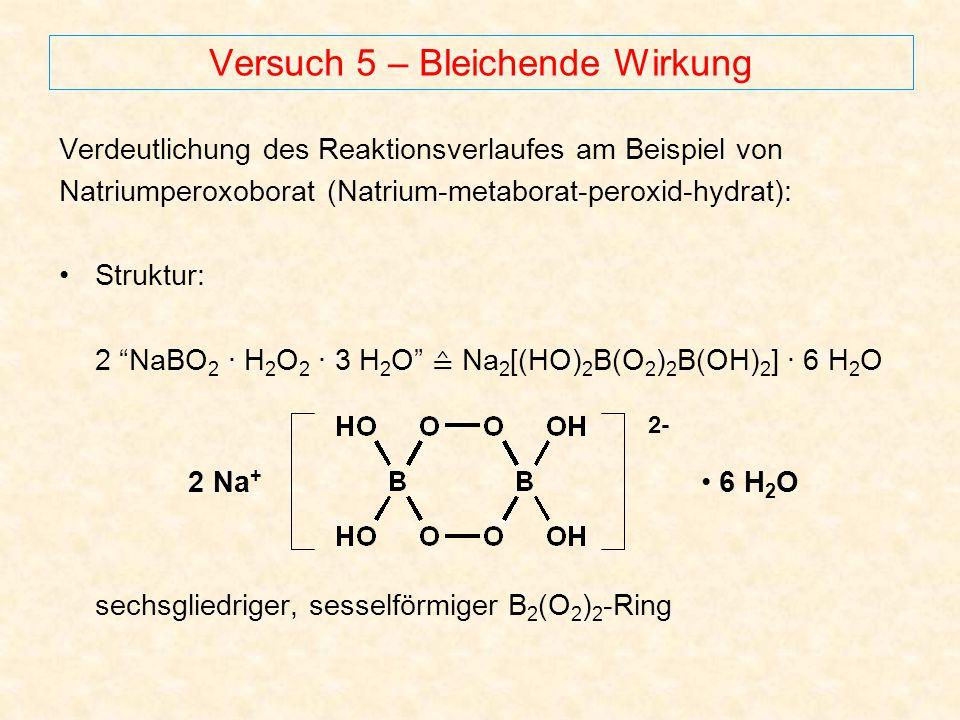 Versuch 5 – Bleichende Wirkung Verdeutlichung des Reaktionsverlaufes am Beispiel von Natriumperoxoborat (Natrium-metaborat-peroxid-hydrat): Struktur: