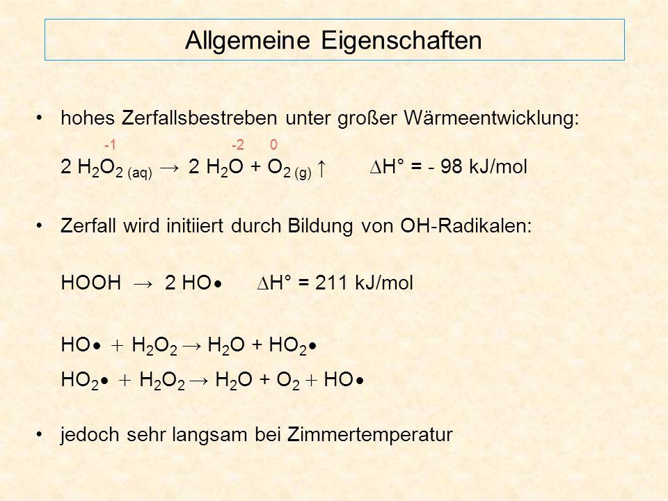 Versuch 3a – Darstellung Reaktion ist mit einem Fällungsvorgang und einer Säure-Base-Reaktion nach Brønsted verknüpft: BaO 2 (s) + H 2 SO 4 (aq) BaSO 4 (s) ↓ + H 2 O 2 (aq) weiß O 2 2- (aq) + 2 H 3 O + (aq) H 2 O 2 (aq) + 2 H 2 O Abstumpfen des Reaktionsmilieus: BaCO 3 (s) + 2 H 3 O + (aq) + SO 4 2- (aq) BaSO 4 (s) ↓ + CO 2 (g) ↑ + 3 H 2 O weiß