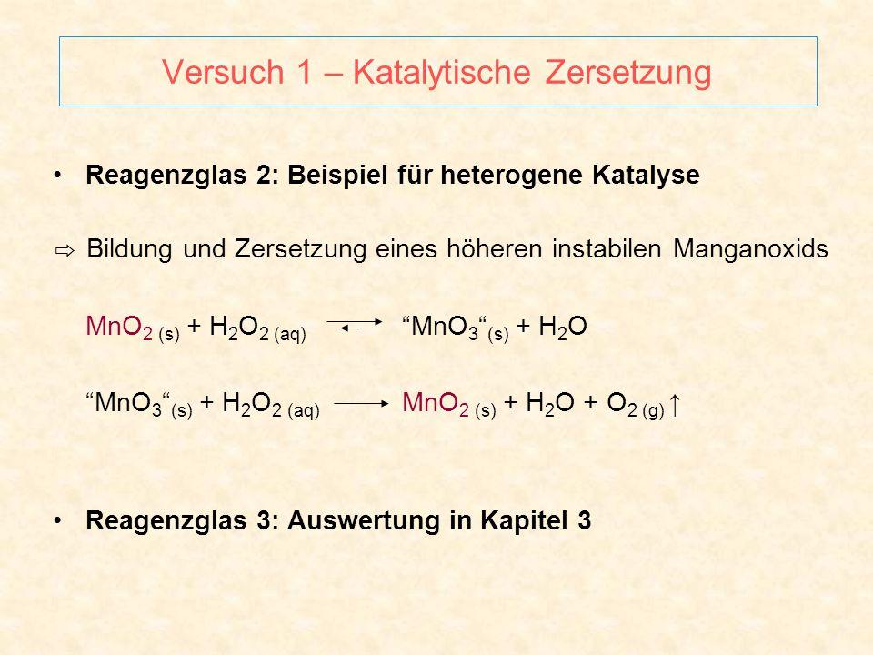 Versuch 1 – Katalytische Zersetzung Reagenzglas 2: Beispiel für heterogene Katalyse ⇨ Bildung und Zersetzung eines höheren instabilen Manganoxids MnO