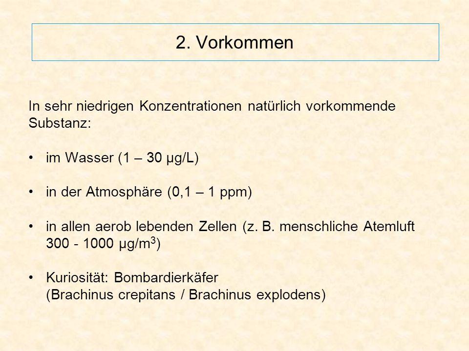 2. Vorkommen In sehr niedrigen Konzentrationen natürlich vorkommende Substanz: im Wasser (1 – 30 μg/L) in der Atmosphäre (0,1 – 1 ppm) in allen aerob