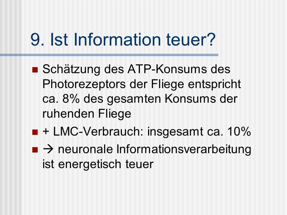 9. Ist Information teuer? Schätzung des ATP-Konsums des Photorezeptors der Fliege entspricht ca. 8% des gesamten Konsums der ruhenden Fliege + LMC-Ver