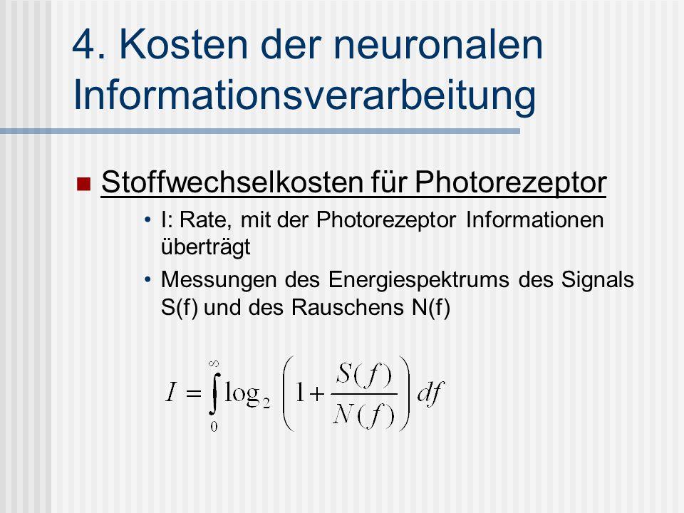 4. Kosten der neuronalen Informationsverarbeitung Stoffwechselkosten für Photorezeptor I: Rate, mit der Photorezeptor Informationen überträgt Messunge
