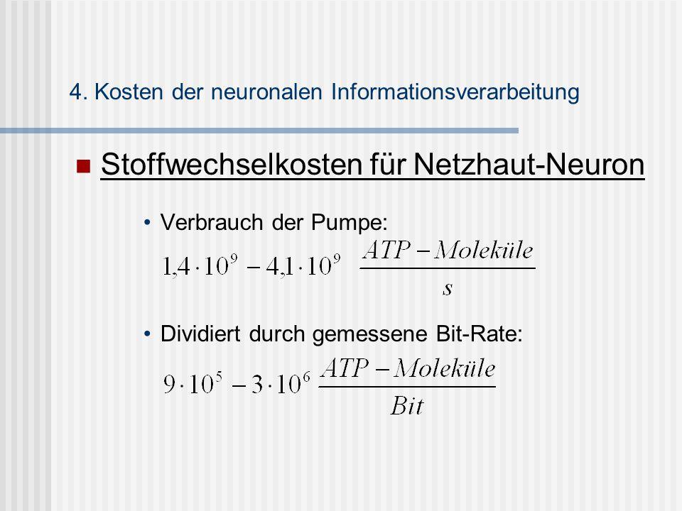Stoffwechselkosten für Netzhaut-Neuron Verbrauch der Pumpe: Dividiert durch gemessene Bit-Rate: 4. Kosten der neuronalen Informationsverarbeitung