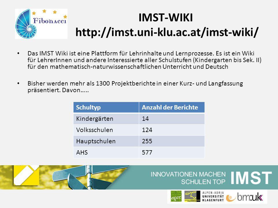 IMST-WIKI http://imst.uni-klu.ac.at/imst-wiki/ Das IMST Wiki ist eine Plattform für Lehrinhalte und Lernprozesse.