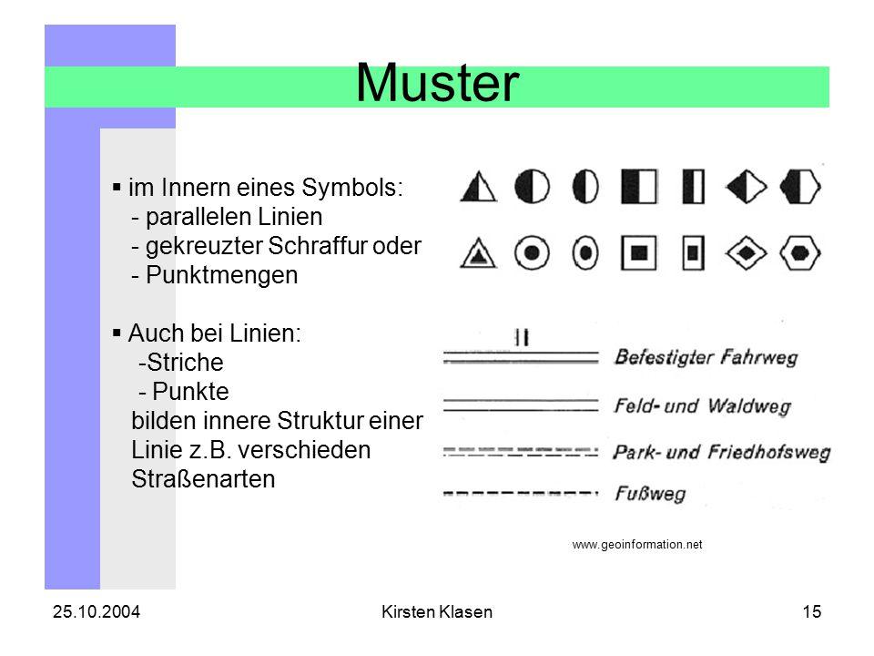 25.10.2004Kirsten Klasen15 Muster  im Innern eines Symbols: - parallelen Linien - gekreuzter Schraffur oder - Punktmengen  Auch bei Linien: -Striche - Punkte bilden innere Struktur einer Linie z.B.