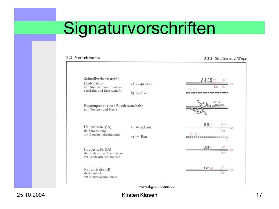 25.10.2004Kirsten Klasen17 Signaturvorschriften www.ikg.uni-bonn.de