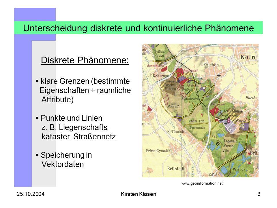25.10.2004Kirsten Klasen3 Unterscheidung diskrete und kontinuierliche Phänomene Diskrete Phänomene:  klare Grenzen (bestimmte Eigenschaften + räumliche Attribute)  Punkte und Linien z.