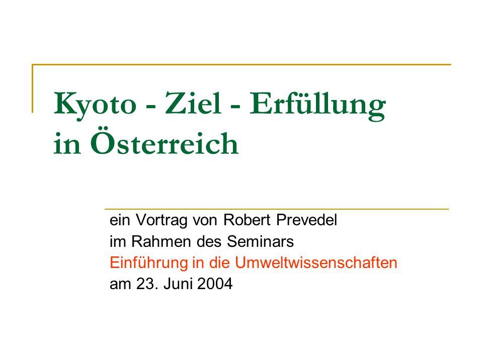 Überblick Kyoto-Protokoll Status quo in Österreich Wesentliche Bereiche/Sektoren Maßnahmen in einzelnen Sektoren Besonderes Augenmerk: Kyoto-Ziel im Verkehr Österreich im (europäisch) internationalen Vergleich Volkswirtschaftliche Auswirkungen