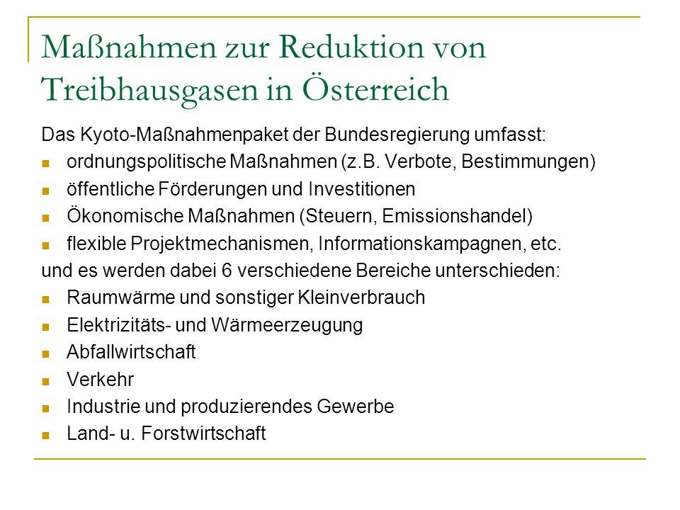 Maßnahmen zur Reduktion von Treibhausgasen in Österreich Das Kyoto-Maßnahmenpaket der Bundesregierung umfasst: ordnungspolitische Maßnahmen (z.B.