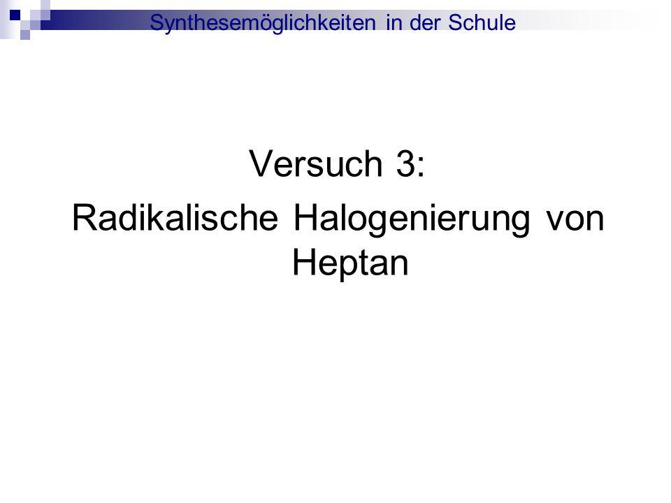 Synthesemöglichkeiten in der Schule Radikalische Halogenierung von Heptan :
