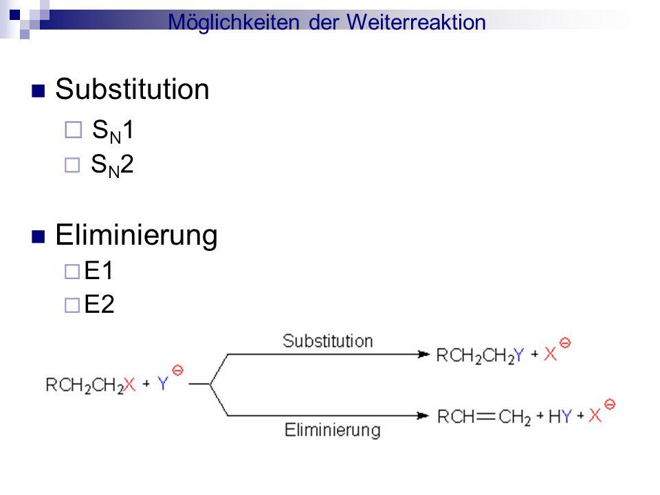 Möglichkeiten der Weiterreaktion Substitution  S N 1  S N 2 Eliminierung  E1  E2