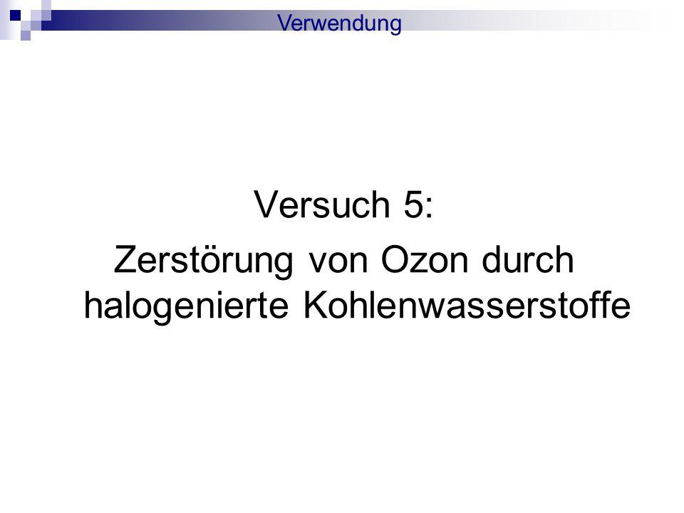 Versuch 5: Zerstörung von Ozon durch halogenierte Kohlenwasserstoffe Verwendung